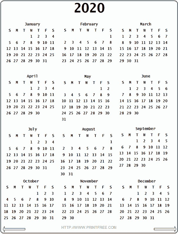 2020 Calendar all about me