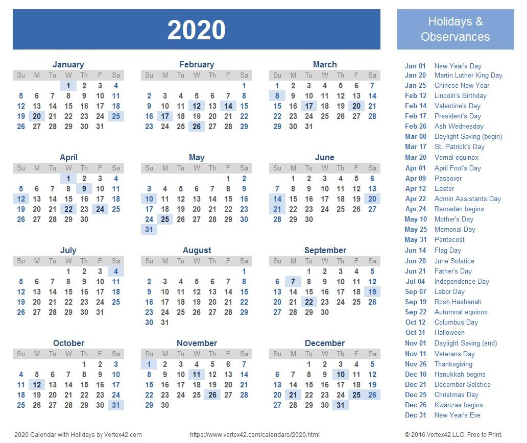 2020 Calendars Printable