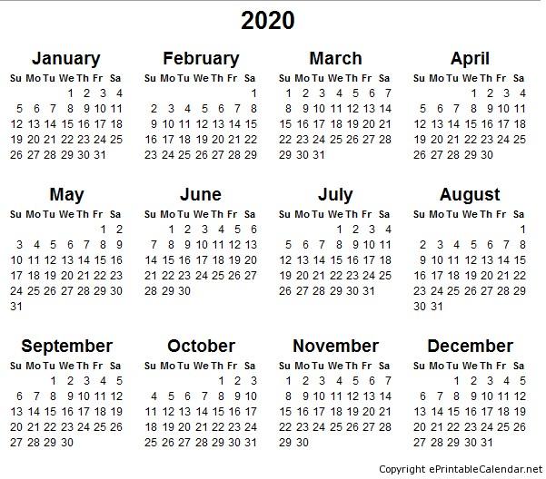 2020 Calendars Printable 5 Best Of 2020 Yearly Calendar Free Printable