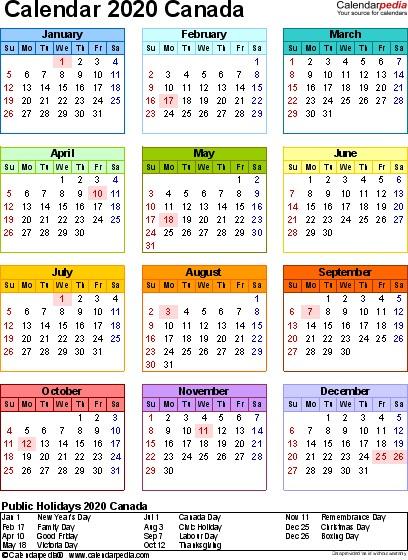 Canada Calendar 2020 free printable PDF templates