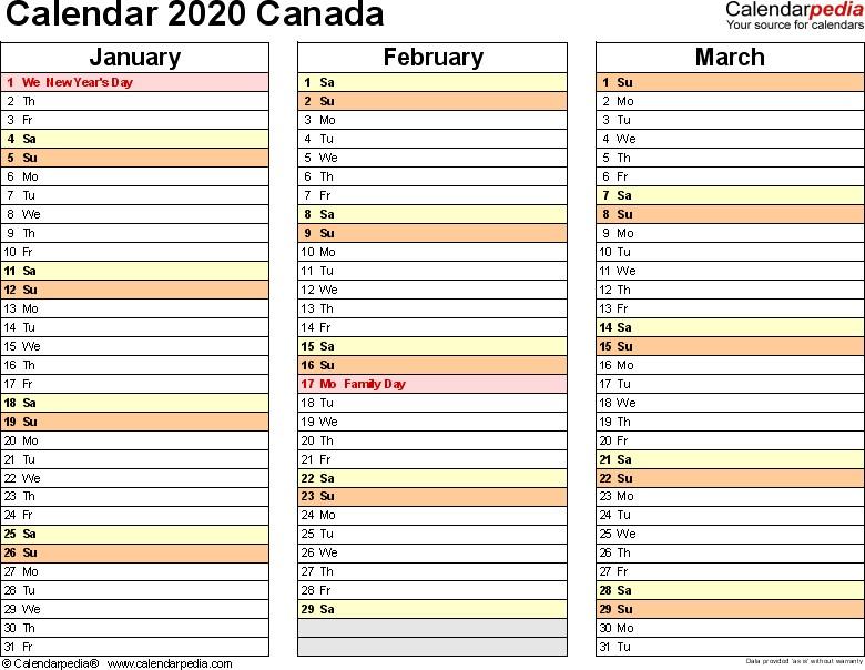 2020 Canadian Calendar Printable Canada Calendar 2020 Free Word Calendar Templates