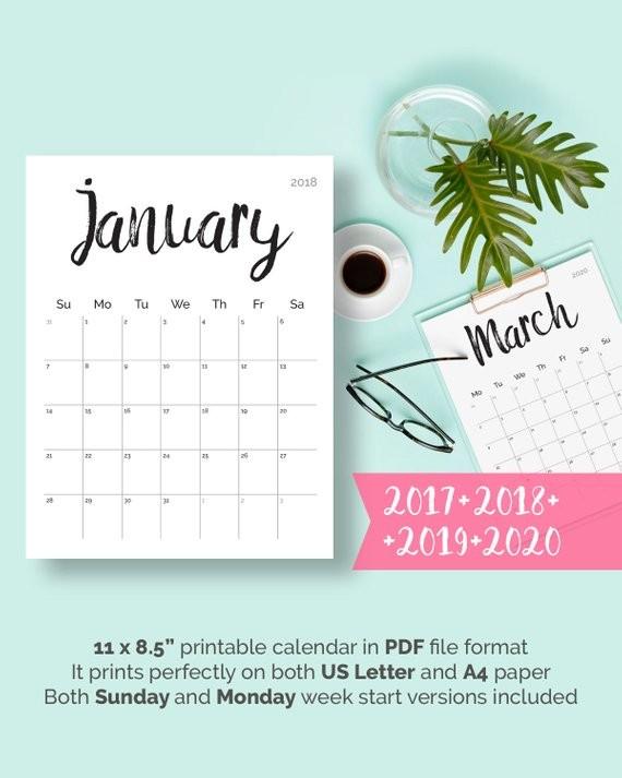 Printable Calendar 2018 2019 2020 2018 Desk Calendar PDF