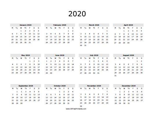 2020 Calendar Free Printable AllFreePrintable