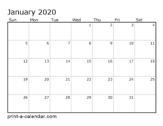 2020 Printable Monthly Calendar
