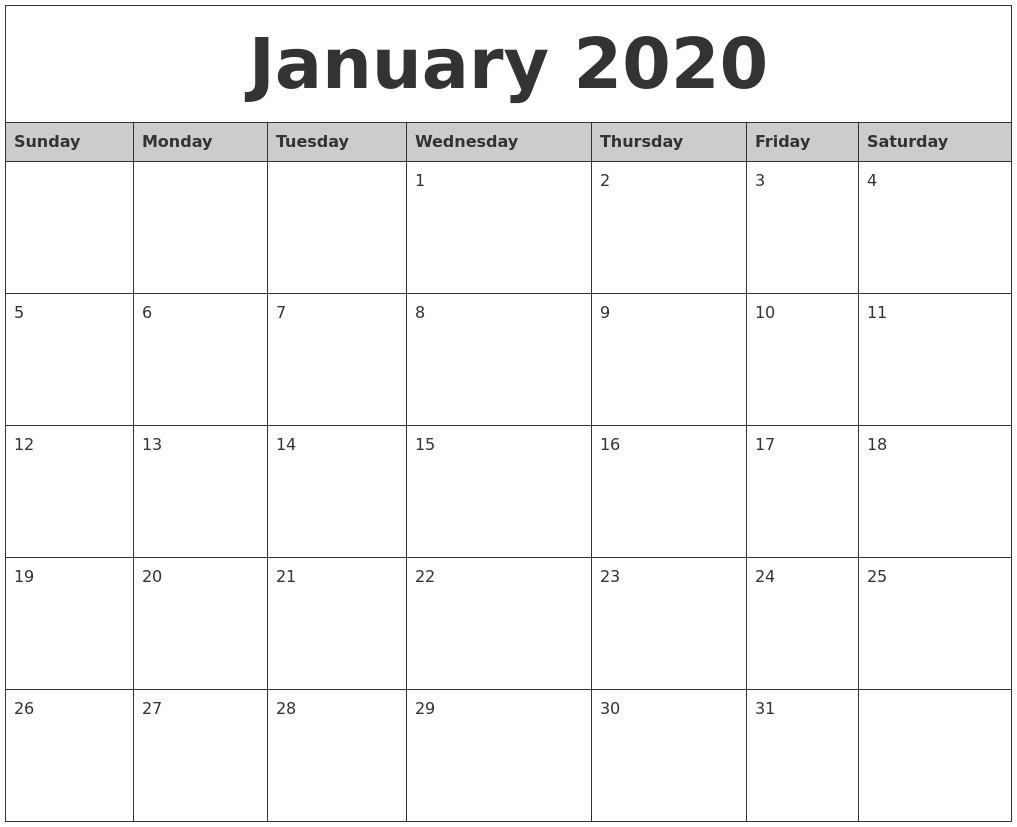 2020 Printable Monthly Calendars January 2020 Monthly Calendar Printable