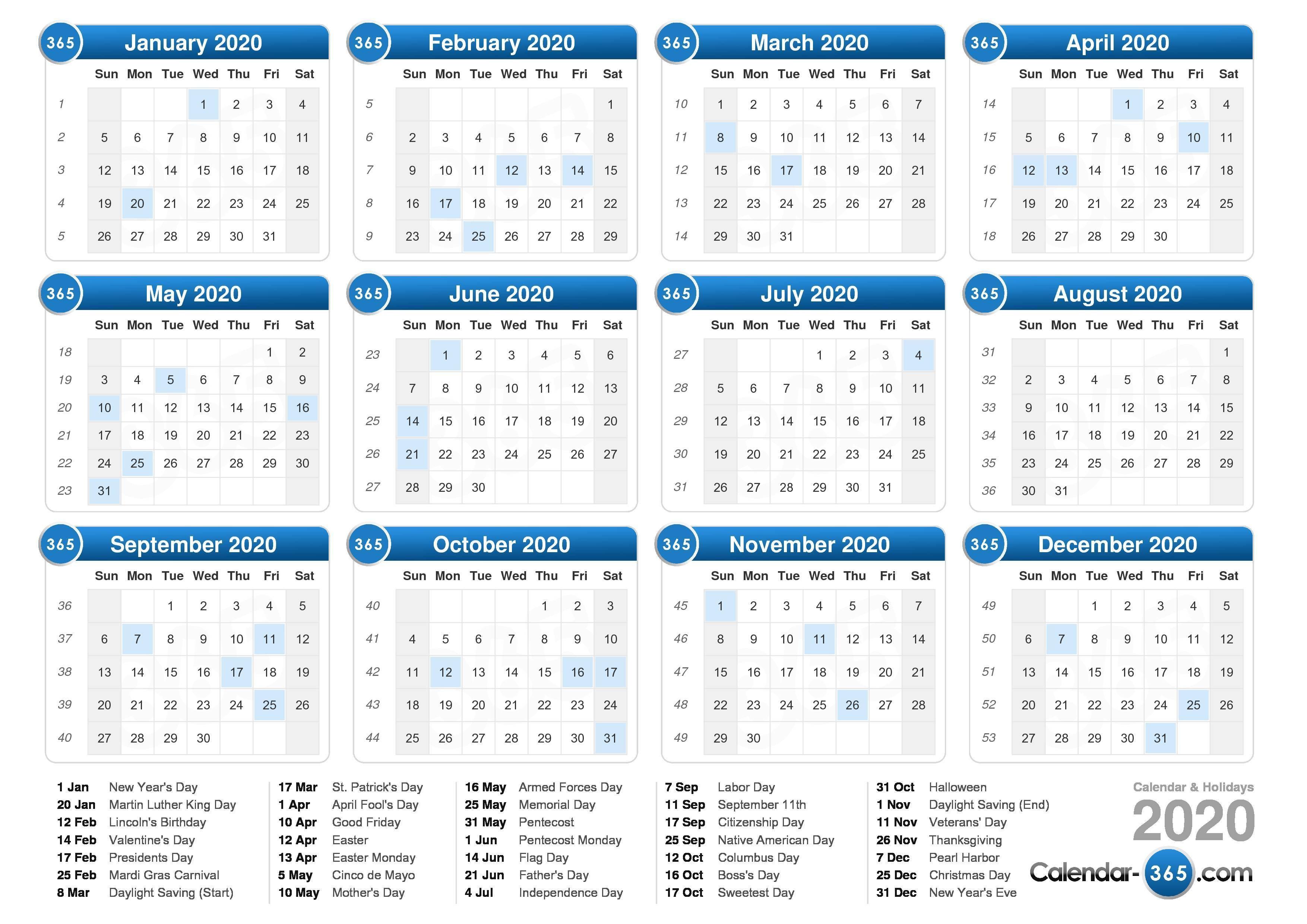 2020 Printable Weekly Calendar