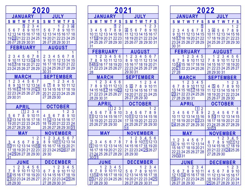 2020 Year Calendar Printable 2020 2021 2022 3 Year Calendar