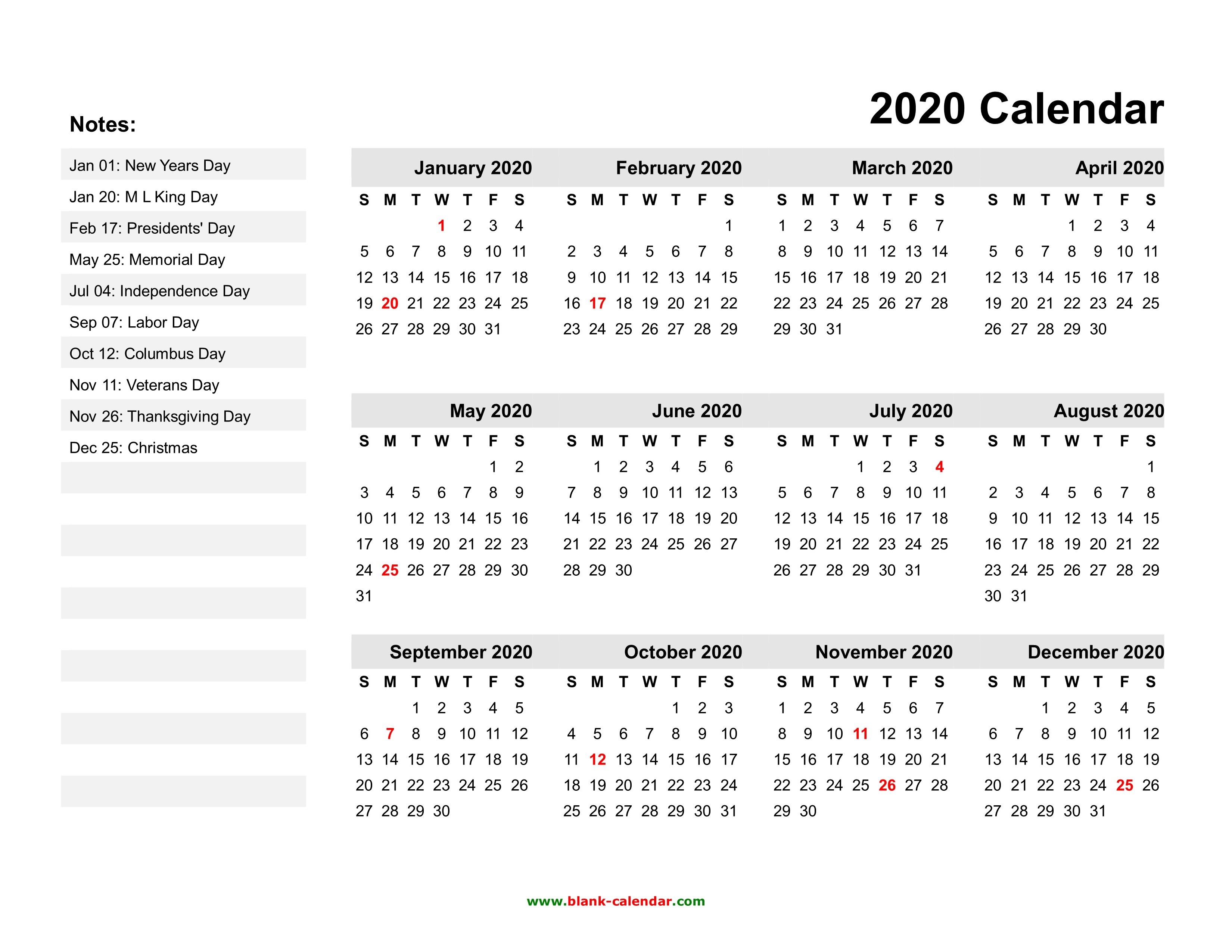 2020 Year Calendar Printable Yearly Calendar 2020