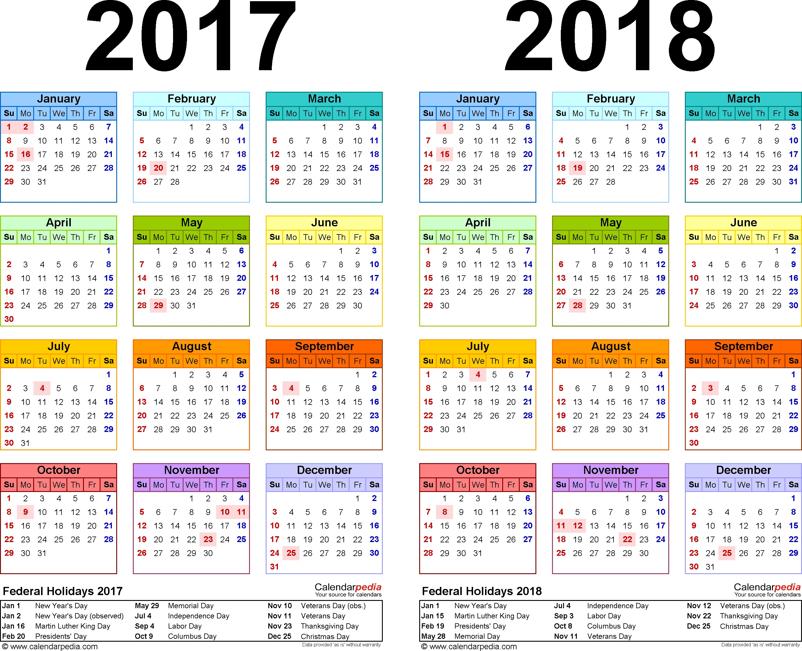 5 Year Calendar Printable 2017 2018 Calendar Free Printable Two Year Pdf Calendars