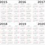 5 Year Calendar Printable 5 Year Calendar