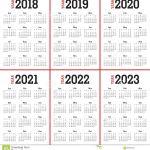 5 Year Calendar Printable Year 2018 2019 2020 2021 2022 2023 Calendar Vector Stock
