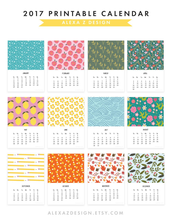 2017 Printable Calendar 5x7 Calendar Desk Calendar