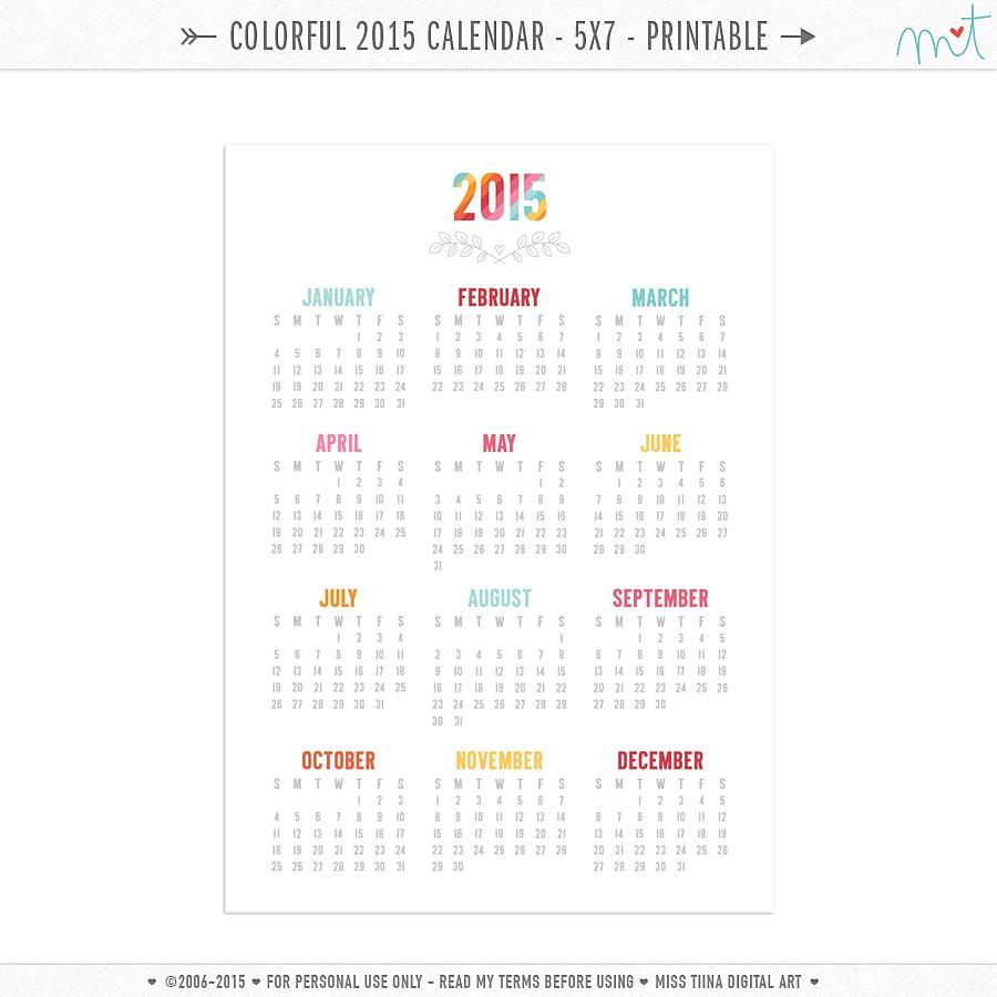 FREE 5x7 Colorful 2015 Calendar Printables MissTiina