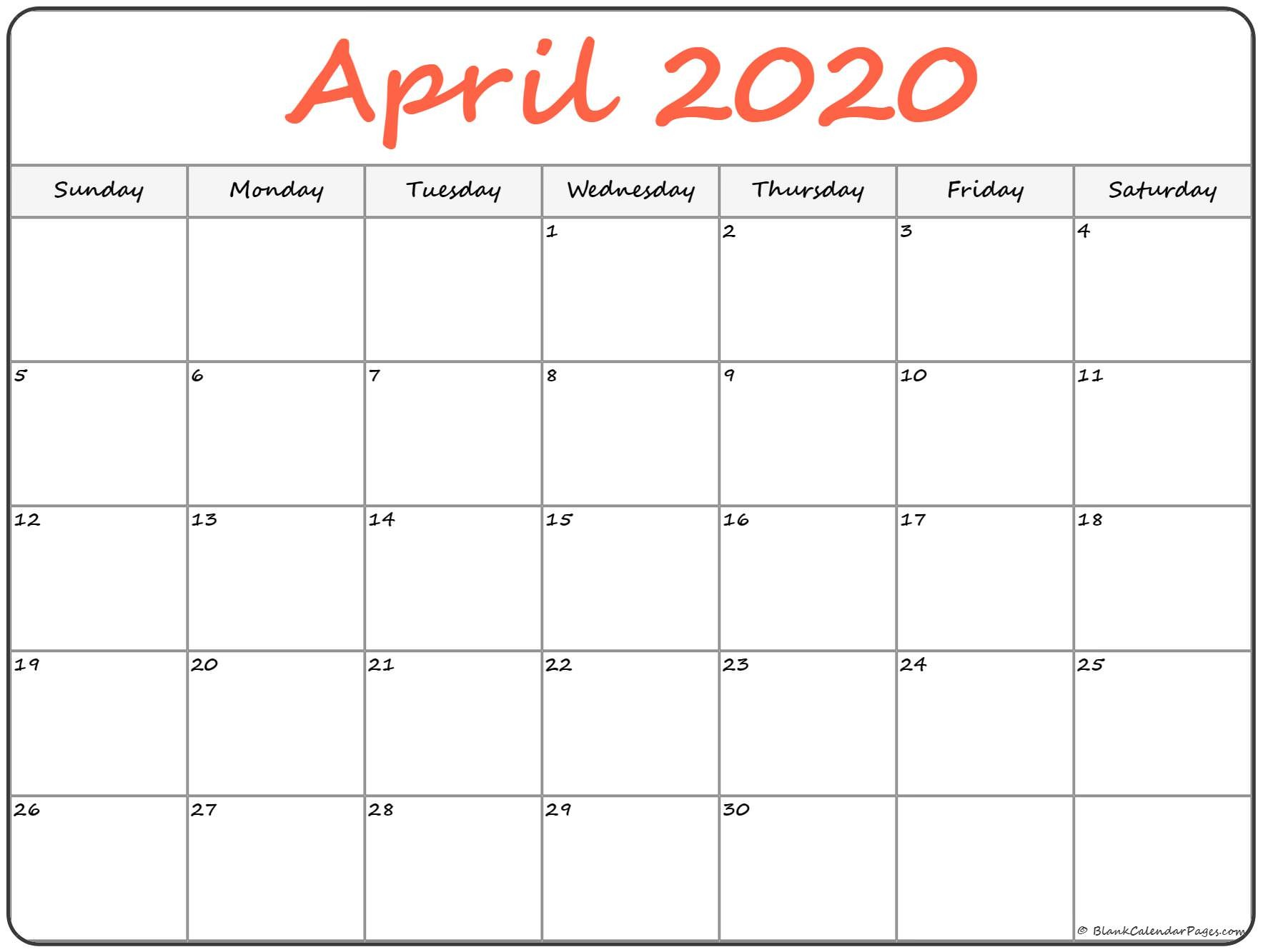 April 2020 Printable Calendar April 2020 Free Printable Blank Calendar Collection