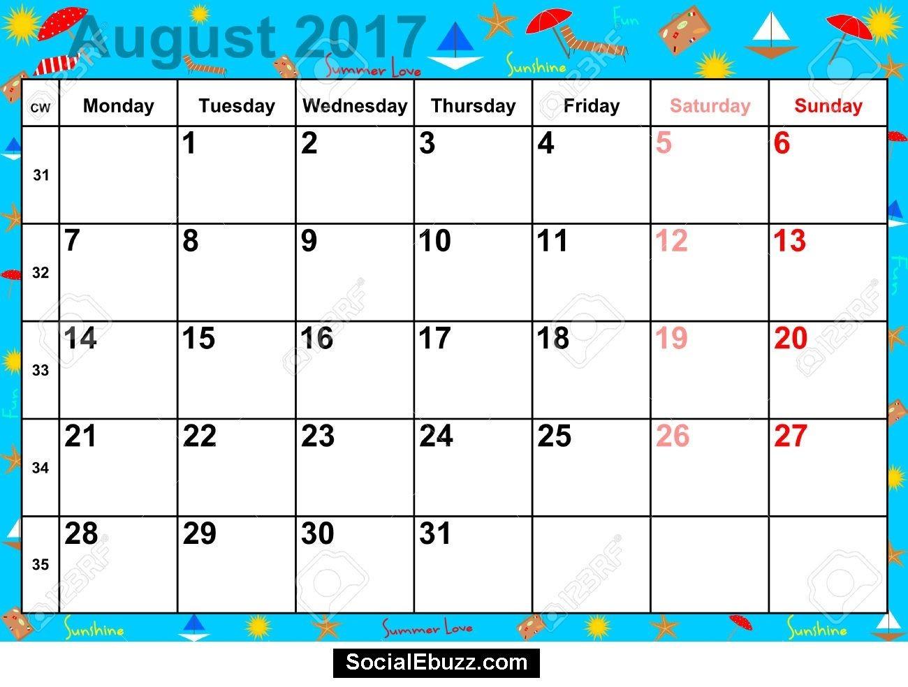 August Calendar 2017 2017