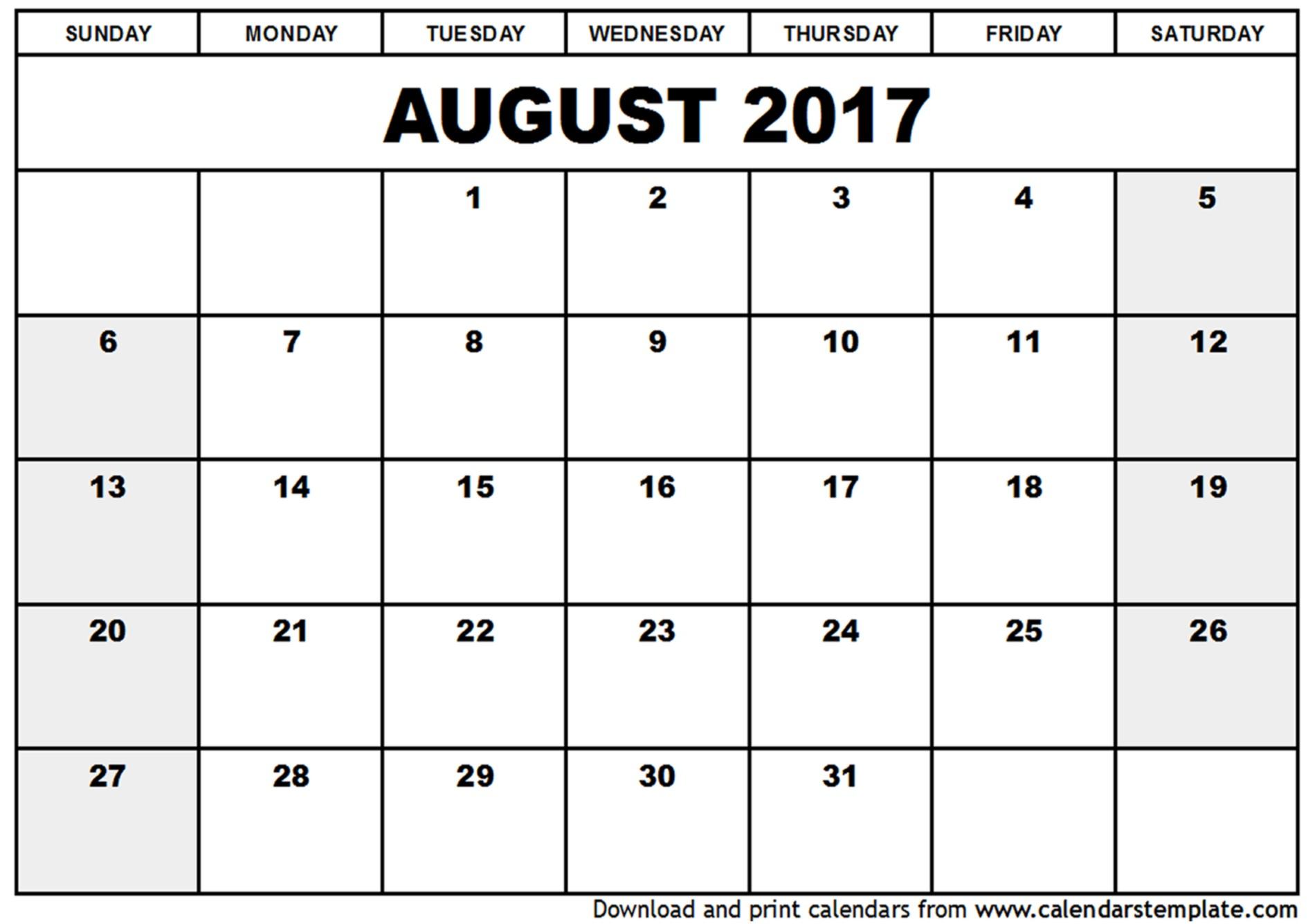 August Calendar Printable Blank August 2017 Calendar