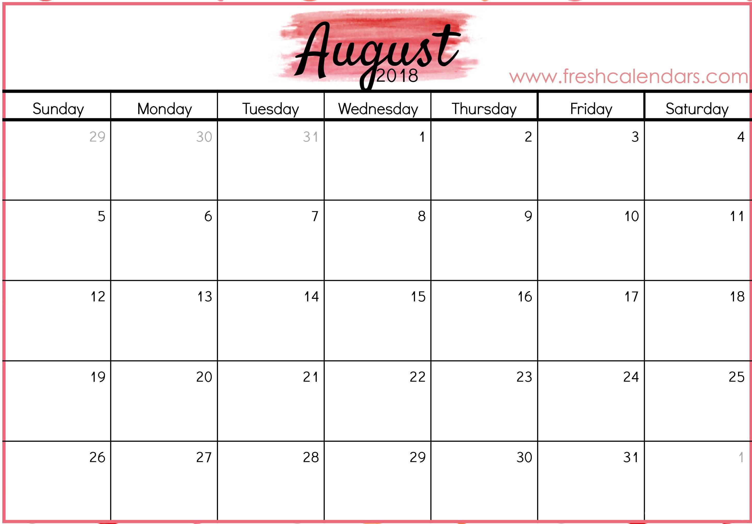 August Calendar Printable Blank August 2018 Calendar Printable Templates