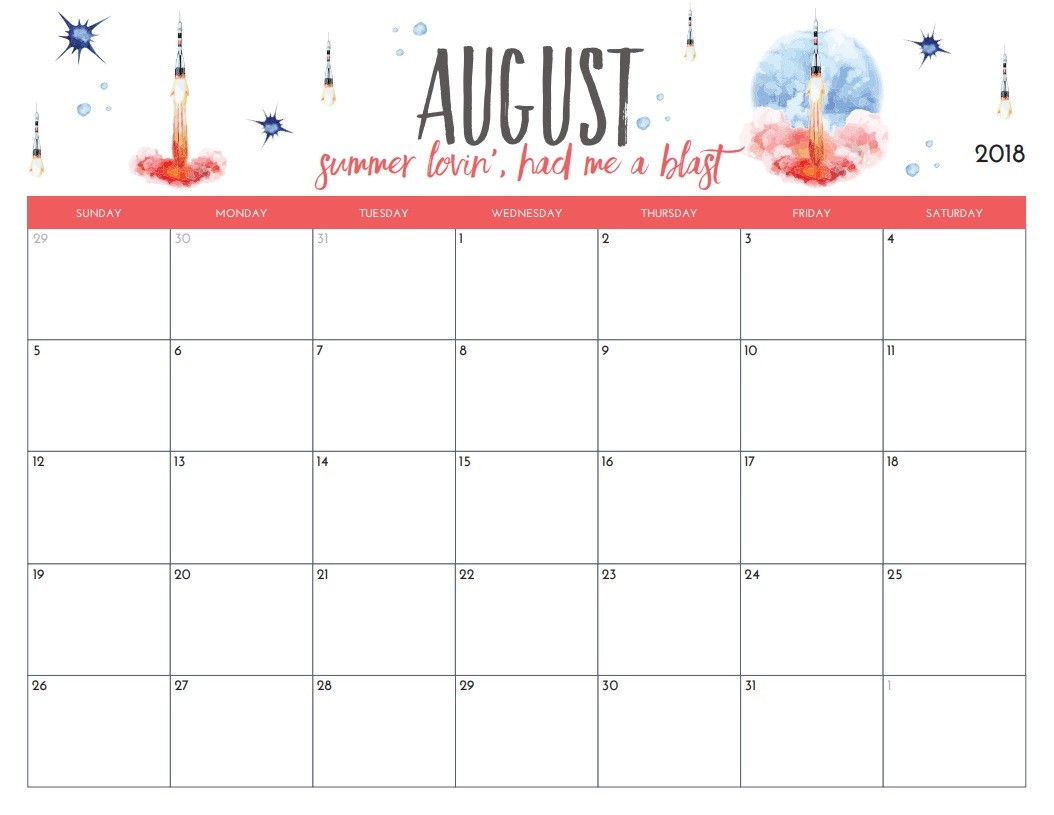 August Calendar Printable Free Printable 2018 Monthly Calendar