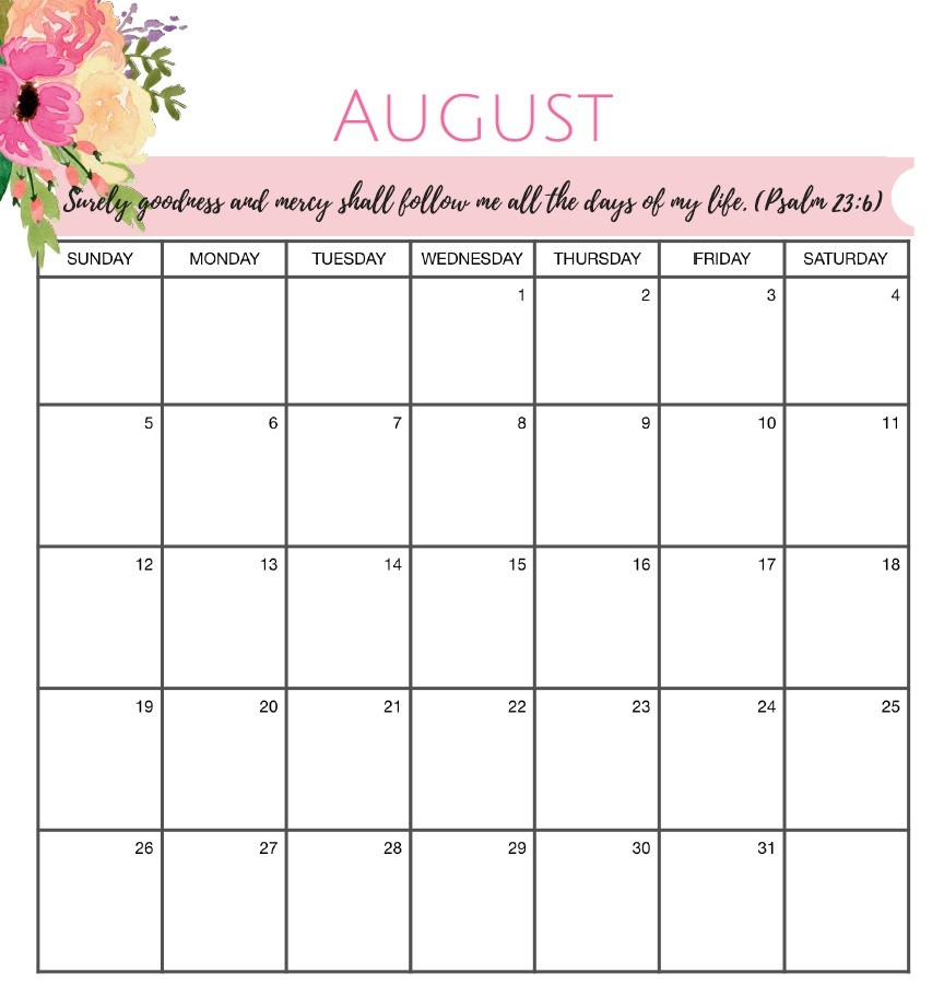 August Calendar Printable Printable August 2018 Calendar
