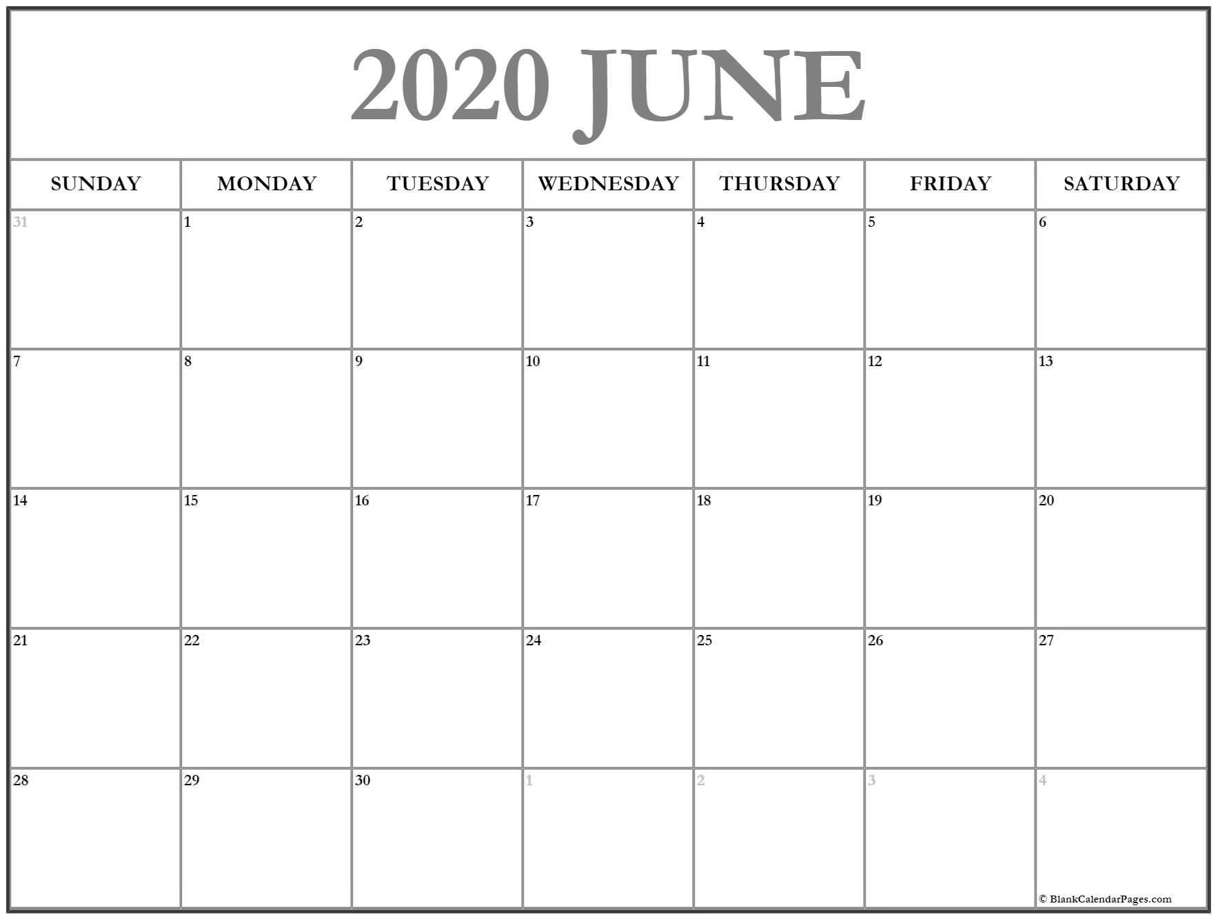 Blank 2020 Printable Calendar June 2020 Calendar