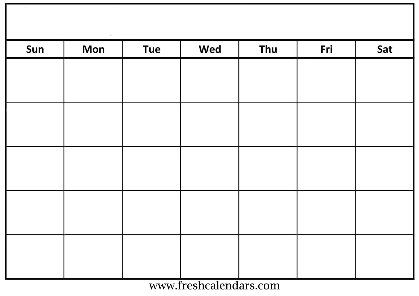 Blank Calendar 2019 Printable