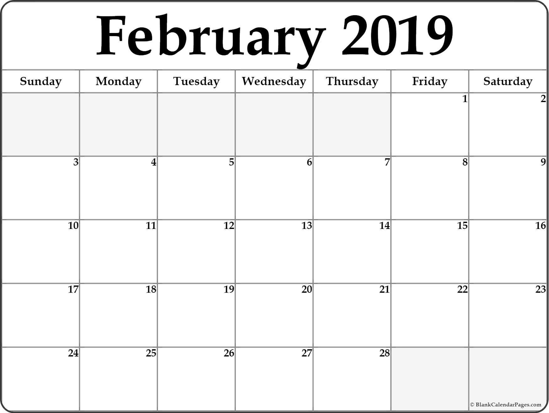 February 2019 blank calendar templates