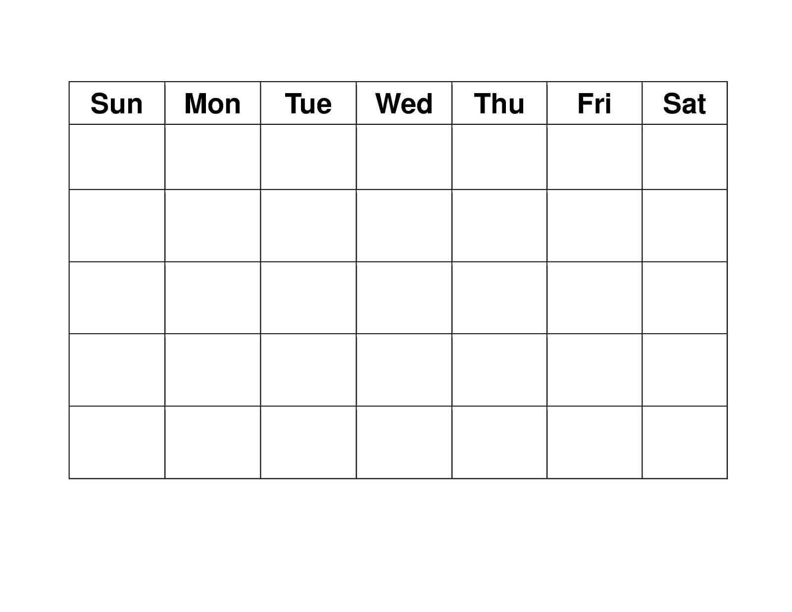 Blank Calendar Free Printable Blank Weekly Calendars Printable