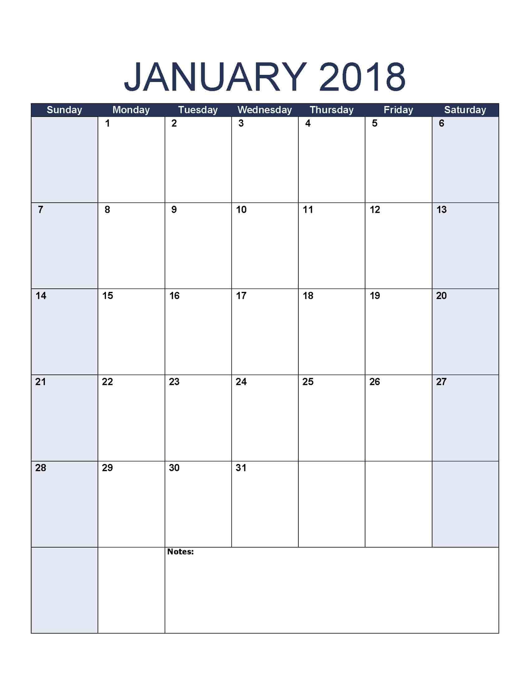 Blank Calendar Free Printable January 2018 Calendar Free Printable Calendar Templates