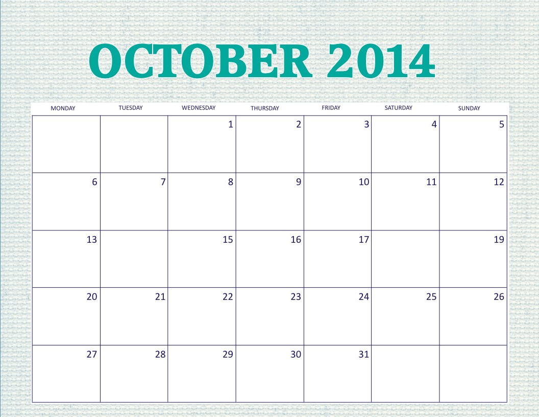 Blank Calendar Printable Free Printable October 2014 Calendar