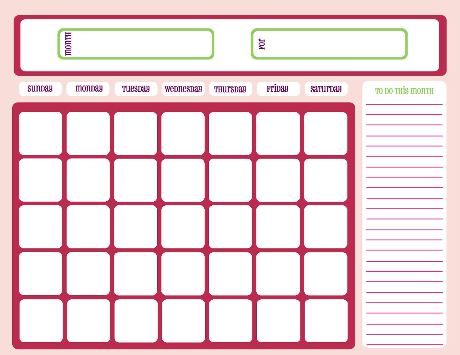Blank Calendar Printable Printable Workout Calendar