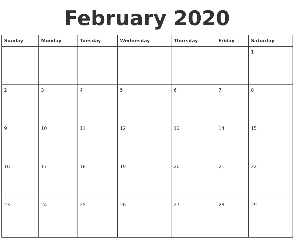 Blank Printable Calendar 2020 February 2020 Blank Calendar Template
