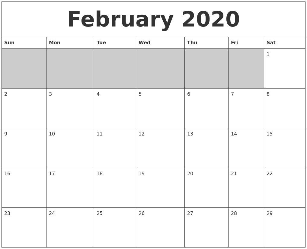 February 2020 Blank Printable Calendar