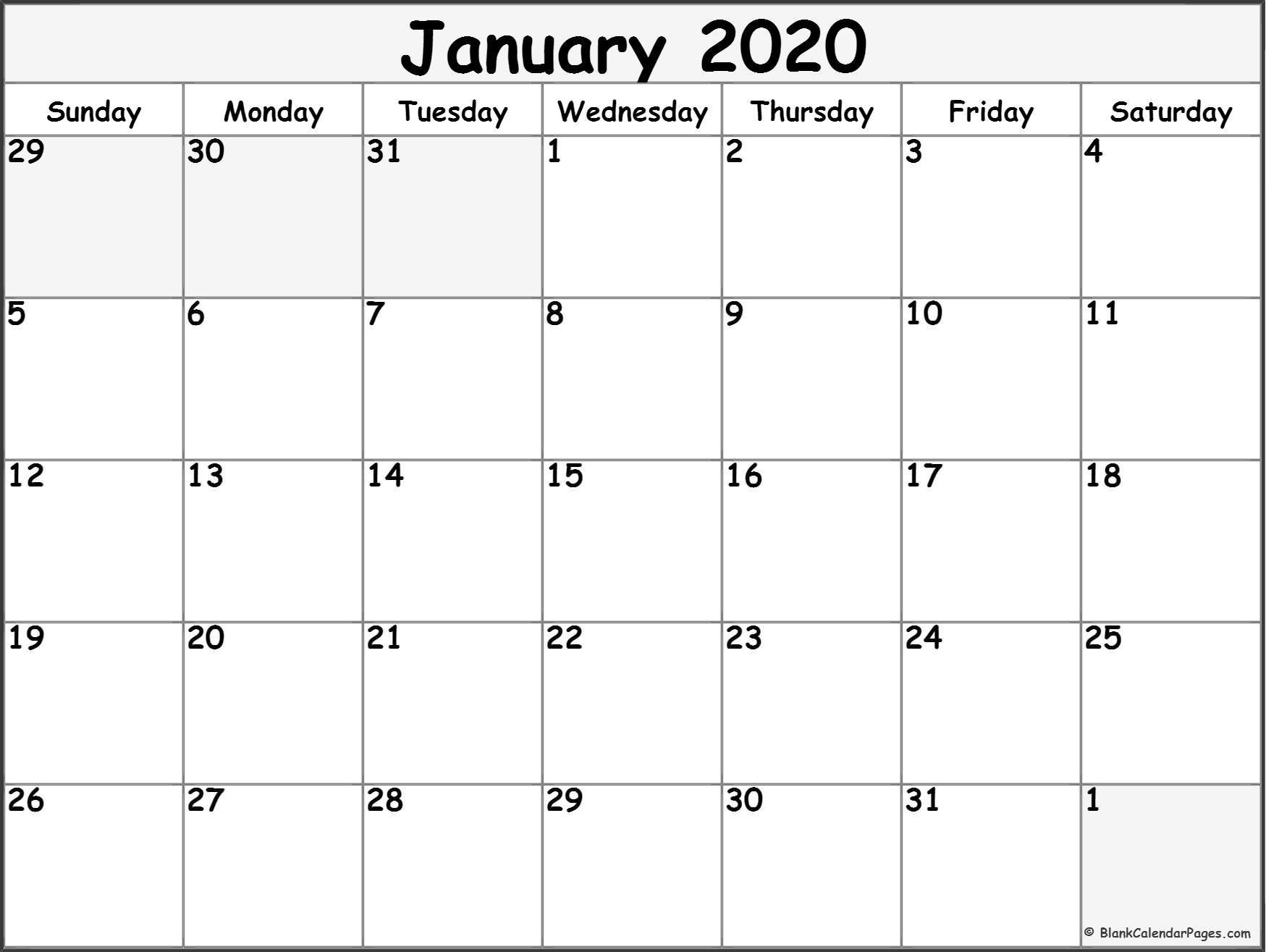 Blank Printable Monthly Calendar 2020