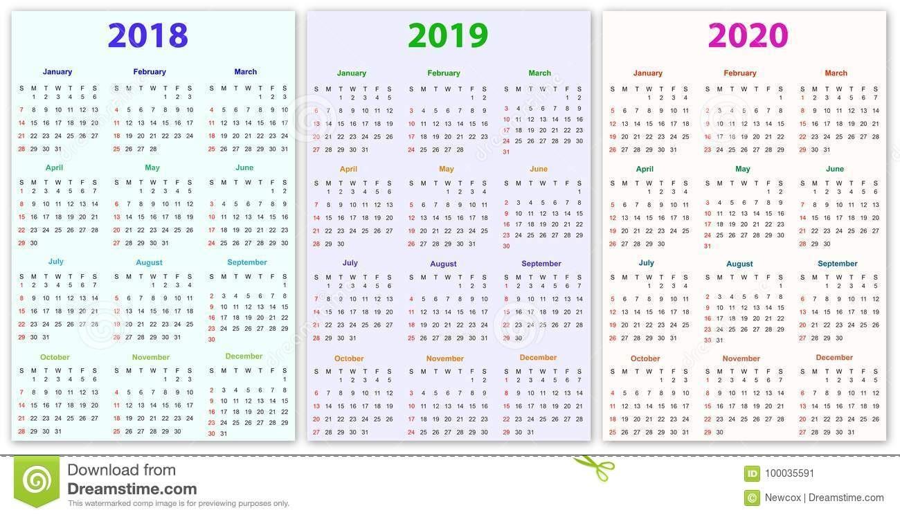 Calendar 2018 and 2020 Printable 12 Months Calendar Design 2018 2019 2020 Stock Vector