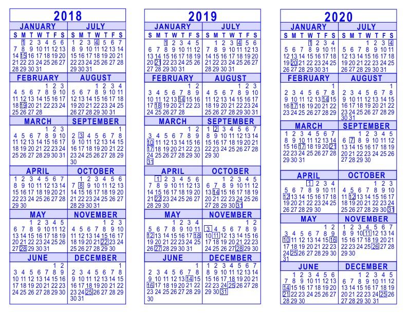 Calendar 2018 and 2020 Printable