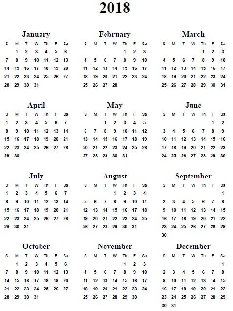 Calendar 2018 and 2020 Printable 2018 Calendar Printable