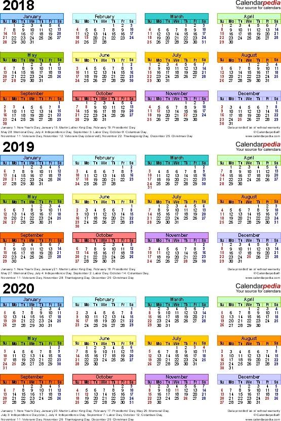 Calendar 2018 and 2020 Printable Free Printable Three Year Calendar 2018 2019 Free
