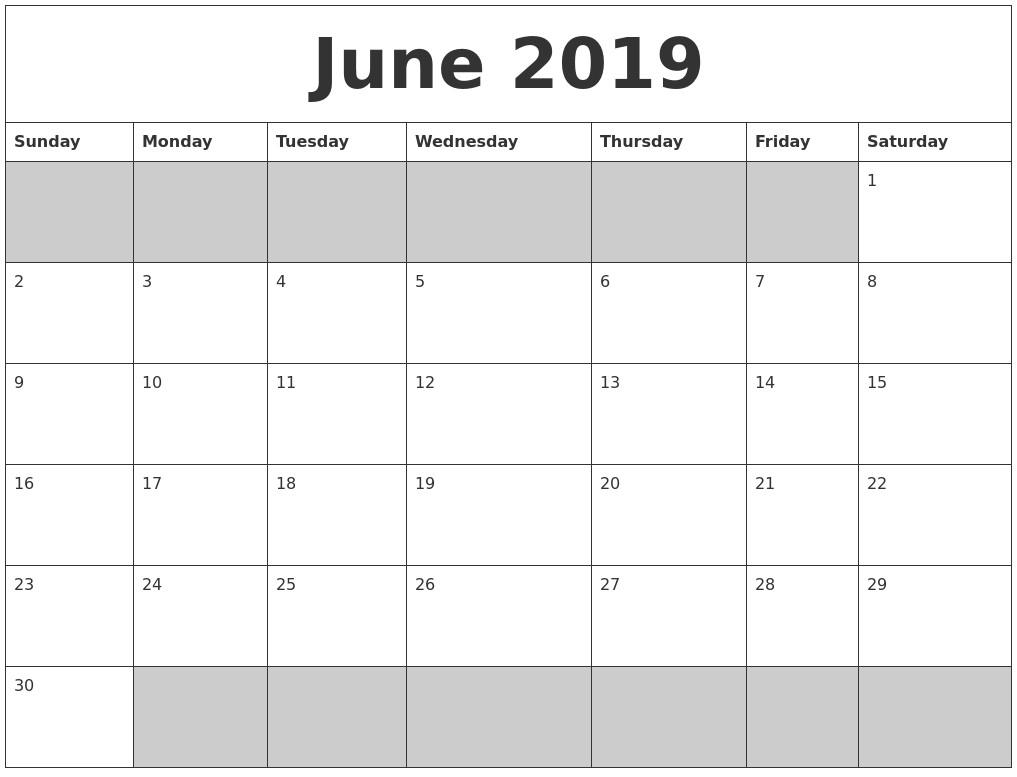 Calendar 2019 Blank Printable Blank Printable June 2019 Calendar