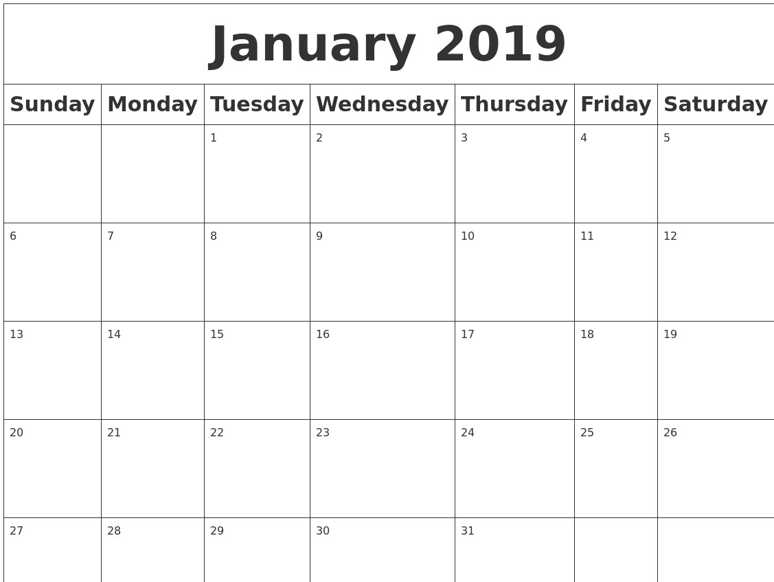 Calendar 2019 Blank Printable January 2019 Blank Calendar