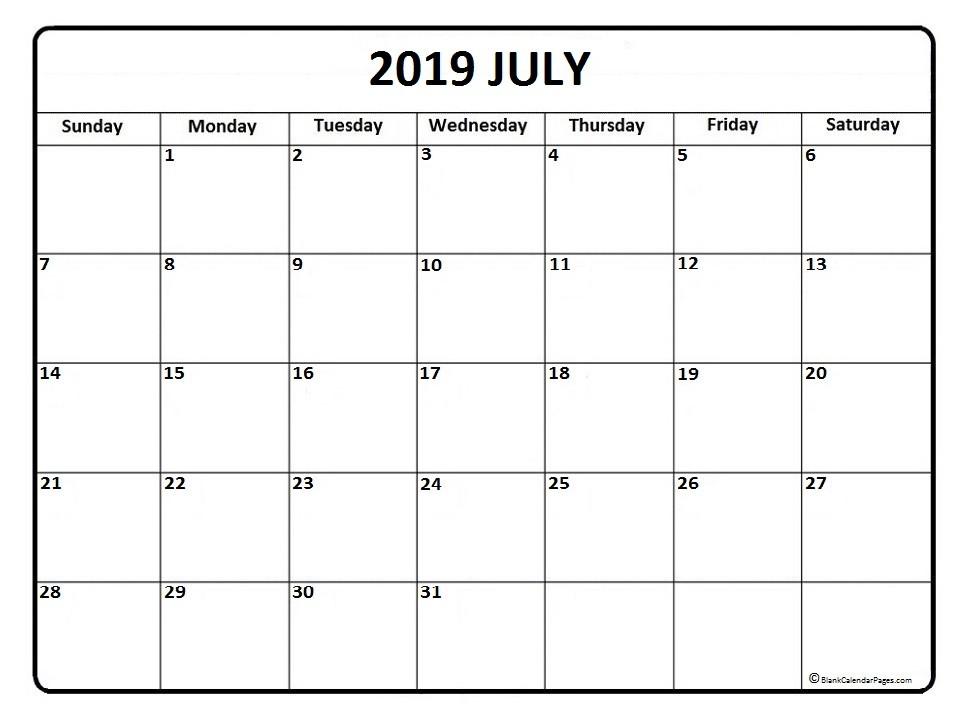 July 2019 calendar