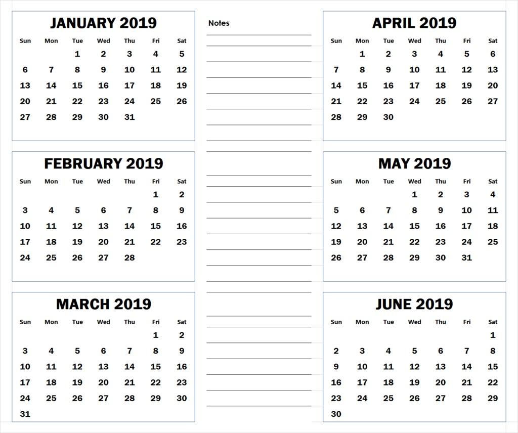 Calendar 2019 Printable by Month 2019 6 Months Half Year Calendar Printable Download