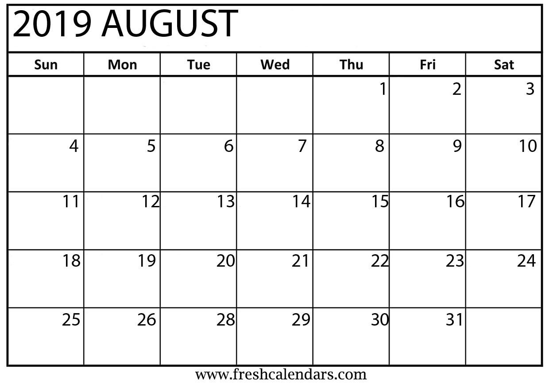 Printable August 2019 Calendar Fresh Calendars