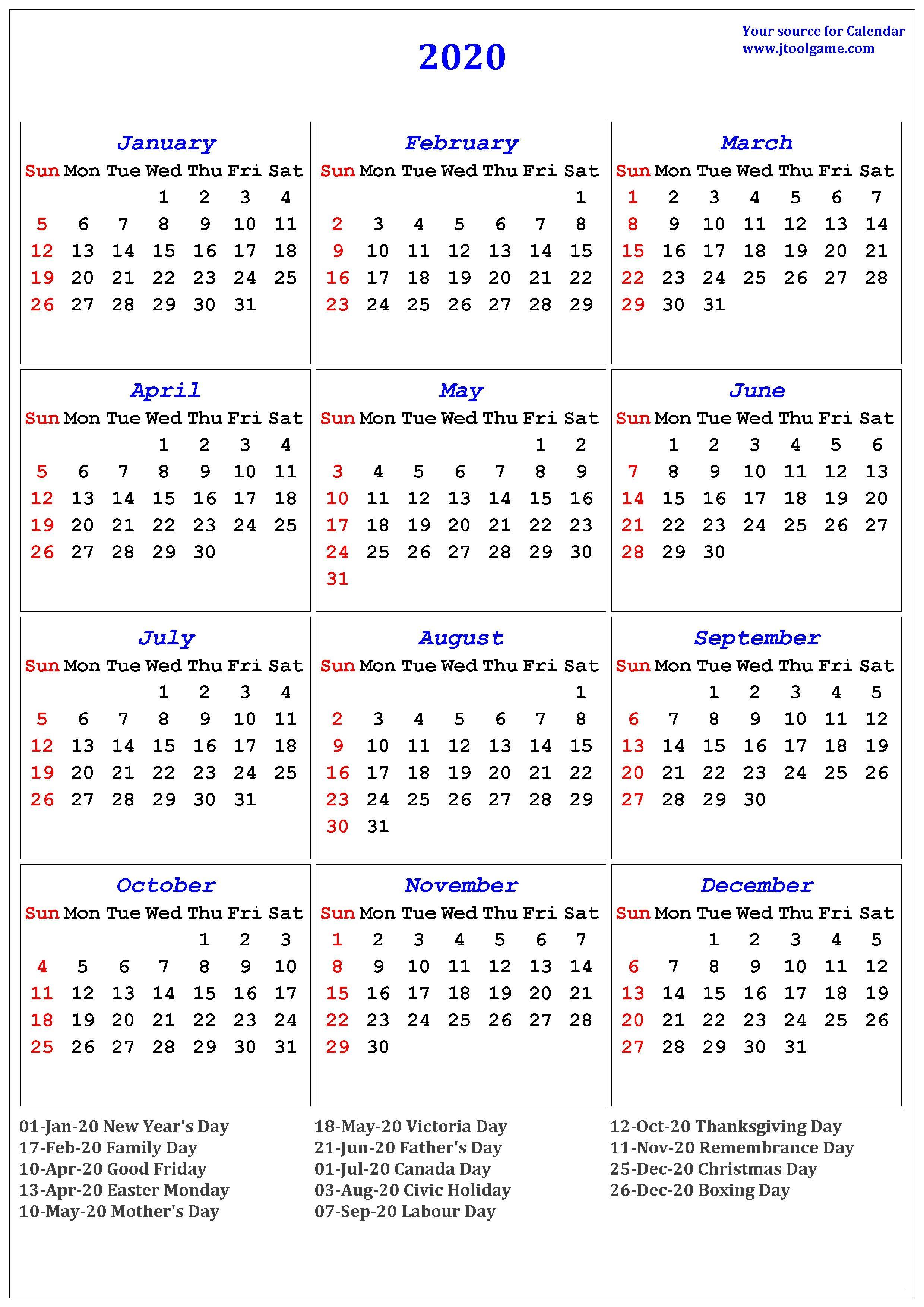 Calendar 2020 Canada Printable 2020 Calendar Printable Calendar 2020 Calendar In