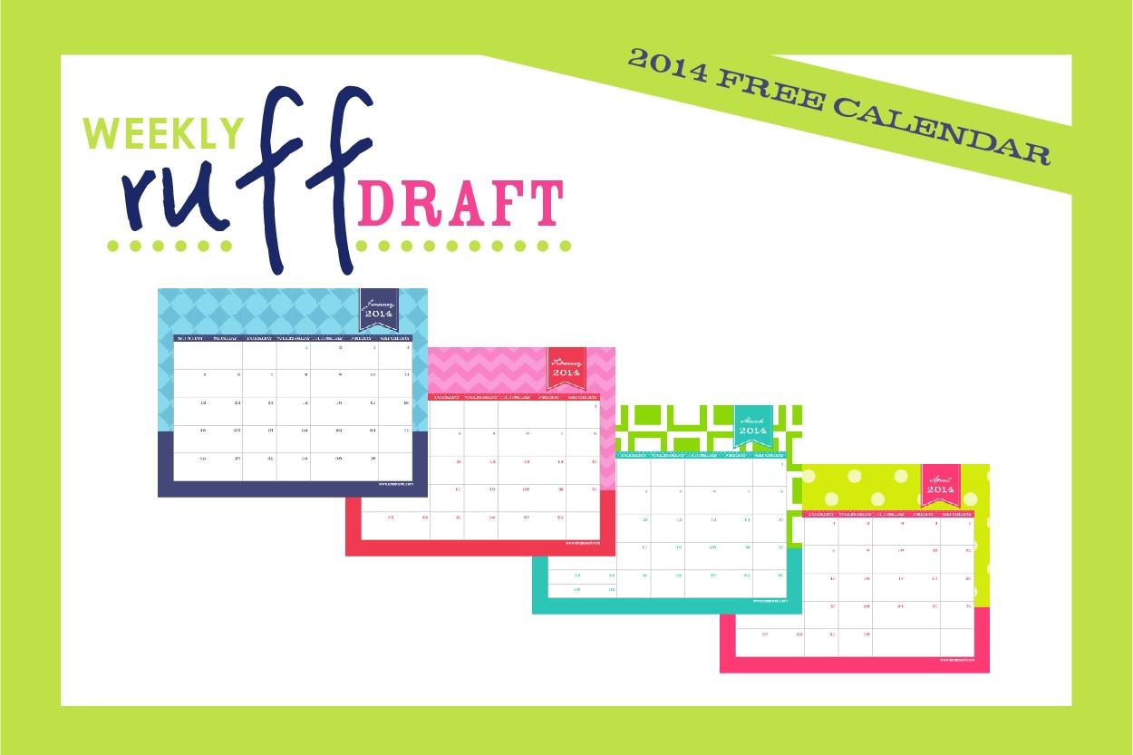 Free Printable Calendar 2014 by Anders Ruff Custom Designs