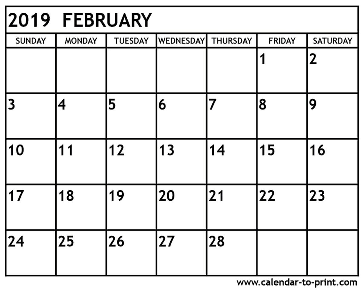 Calendar for February 2019 Printable