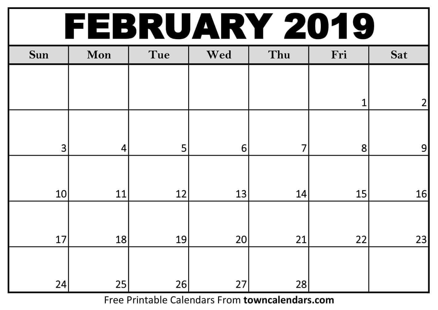 Printable February 2019 Calendar towncalendars