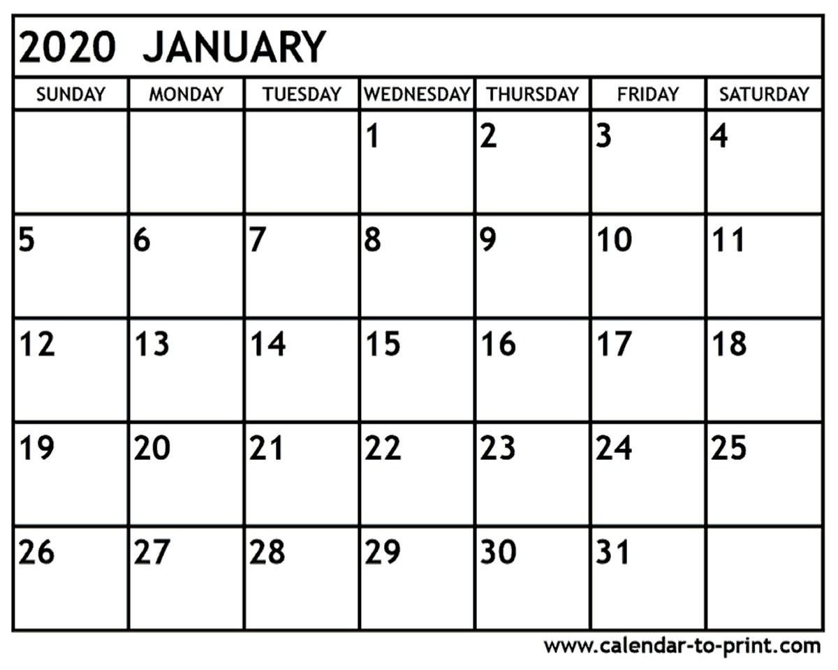 Calendar for January 2020 Printable
