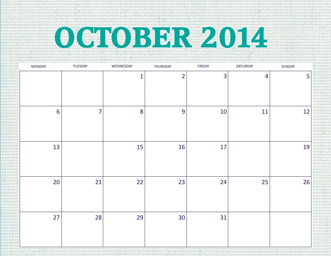 Calendar Free Printable Monthly Free Printable October 2014 Calendar