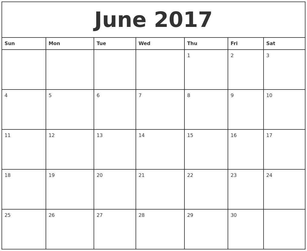 Calendar Month Printable Blank Monthly Calendar 2017