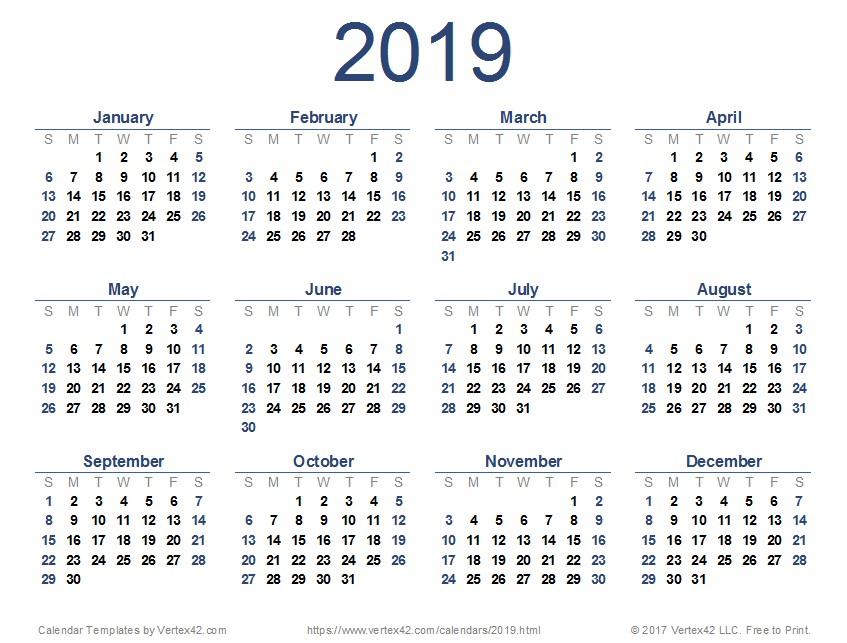 2019 Calendar Templates and